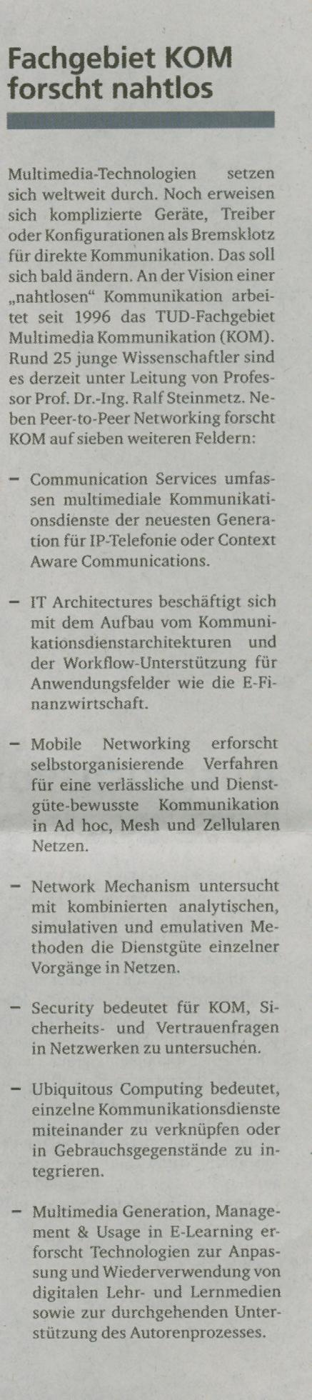 July 2005, Hoch³ Zeitung Der TUD Ausgabe 1 2005 ...